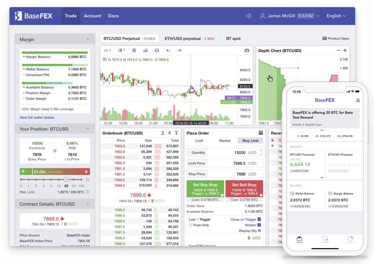 BaseFEX 仮想通貨 取引所 取引画面