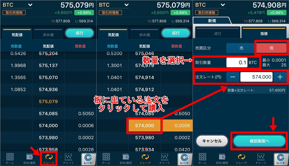 暗号資産(ビットコインBTC)の買い方:指値注文の仕方