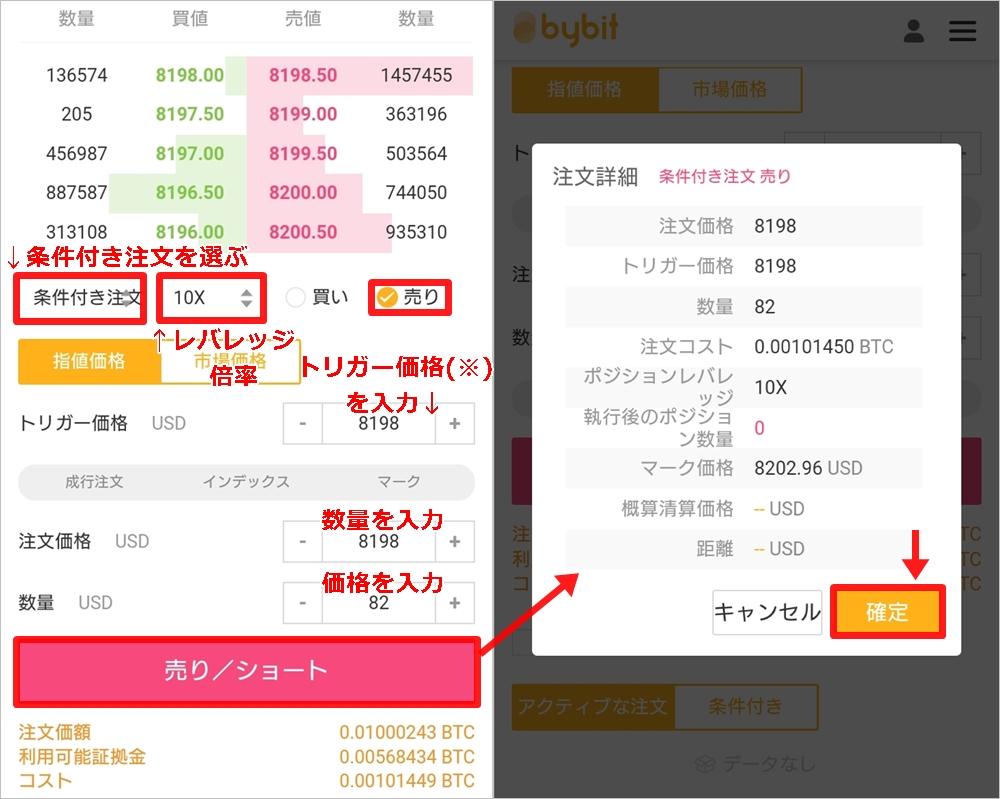 Bybit(バイビット):スマホトレード ショートでの条件付き注文の仕方