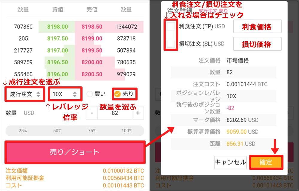 Bybit(バイビット):スマホトレード ショートでの成行注文の仕方