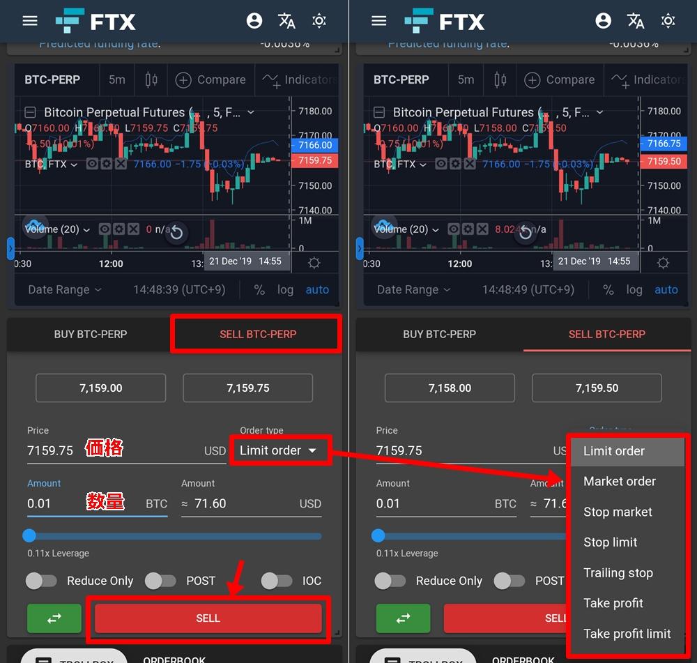 FTXの取引画面の使い方